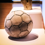 POLITICAL FOOTBALL: Khaled Jarrar's soccer ball made of olive branches and concrete. - DANIEL VEINTIMILLA