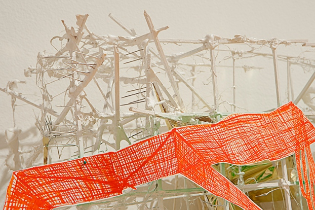 Cynthia Mason | You can go over there, but not over here | 2012  gouache, wood glue, wood, canvas and string on paper