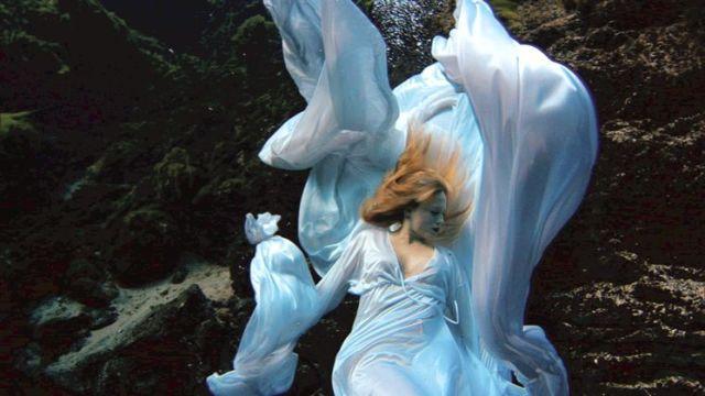 Janaina Tschape, still from Blood, Sea, 2004, four-channel video installation. The work was shot at Weeki Wachee Springs.