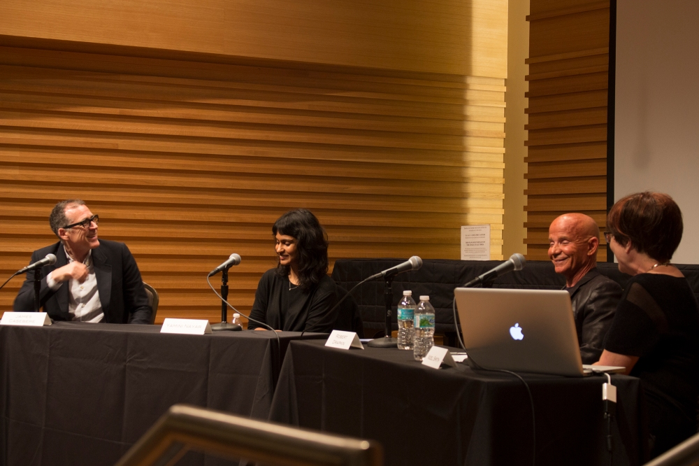 James Casebere, Yamini Nayar, Dr. Robert Drapkin and Noel Smith (Left to right) at the Enhanced! Symposium.